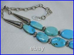 NAVAJO Running Bear SLEEPING BEAUTY TURQUOISE STERLING Silver 23.5-27 Necklace