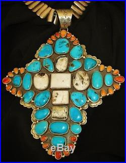 NAVAJO STUNNING CROSS PENDANT-MJ GARCIA- Sleeping Beauty, Buffalo Turquoise, 217gr