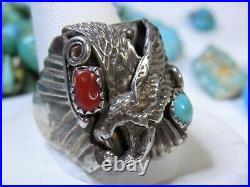 NAVAJO Sleeping Beauty TURQUOISE Coral STERLING Silver FLYING EAGLE Ring s11 Snd