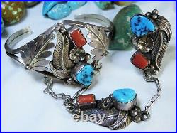 NAVAJO Sleeping Beauty TURQUOISE Coral STERLING Silver SLAVE BRACLET sign sz8