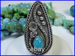 NAVAJO Sleeping Beauty TURQUOISE STERLING Silver Squash Blossom SNAKE Ring s7