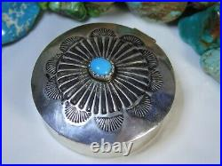 NAVAJO Sleeping Beauty TURQUOISE Stamped STERLING Silver 1&3/8 Pill BOX