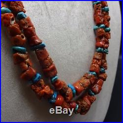 NAVAJO Sterling Silver OLD Natural CORAL & Sleeping Beauty TURQUOISE NECKLACE