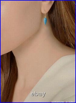 NEW. 14k Gold Sleeping Beauty Turquoise Drop Earrings in 14k Pure Gold Hook