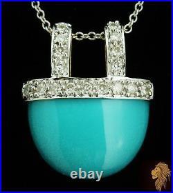NEW / EFFY / 3.25 CT Robins Egg Sleeping Beauty Turquoise & Diamond / 14K gold