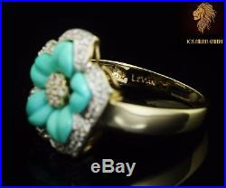 NEW / Levian / 5.4 CT Diamond & Sleeping Beauty Turquoise Ring / 14K Gold