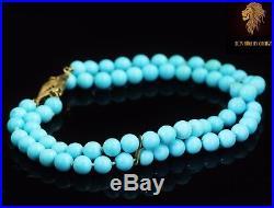 NEW / Levian / 68 CT AAA Sleeping Beauty Turquoise Gemstone Bracelet / 14K gold