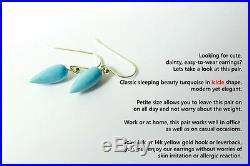 NEW Pure 18k Gold Sleeping Beauty Turquoise Drop Earrings Hook Earwire