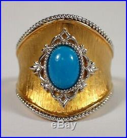 NEW Signed EA 14K Yellow White Gold Sleeping Beauty Turquoise Saddle Ring Size 6