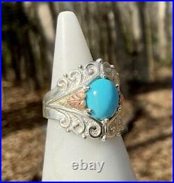 NWOT C Co COLEMAN CO 10K BLACK HILLS GOLD & SILVER TURQUOISE RING SZ 6