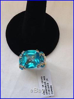 NWT-Gems en Vogue 9.04ctw Paraiba Color Topaz & Sleeping Beauty Turquoise sz 8