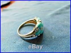 NWT! Sleeping Beauty Turquoise Diamond Cocktail Ring Vintage