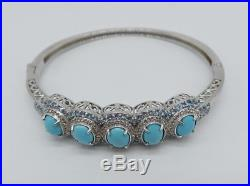 NYCII Sleeping Beauty Turquoise & Blue Topaz & White Zircon Bracelet Bangle halo