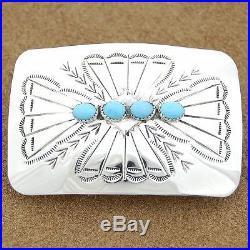 Native American Genuine Sleeping Beauty Turquoise Silver Belt Buckle