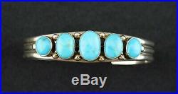 Native American Jones Latome Sterling Sleeping Beauty Turquoise Cuff Bracelet