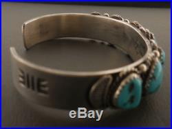 Native American NAVAJO AZ Sleeping Beauty Turquoise Bracelet Sterling 6 1/2- 7