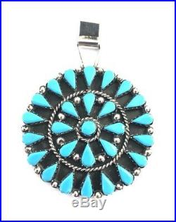 Native American Navajo Handmade Zuni Sleeping Beauty Turquoise Pendant