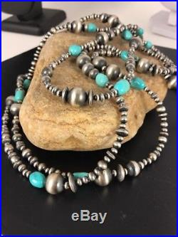 Native American Navajo Pearls Sleeping Beauty Turquoise Necklace 70 Rare