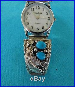 Native American Navajo Sleeping Beauty Turquoise And Silver Feather Watch
