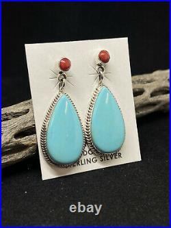 Native American Navajo Sleeping Beauty Turquoise& Coral Sterling Silver Earrings