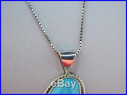 Native American Navajo Sleeping Beauty Turquoise Pendant & Sterling Chain