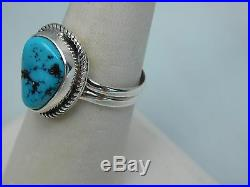 Native American Navajo Sleeping Beauty Turquoise Ring Size 9 Sterling