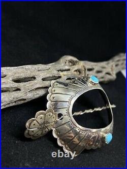 Native American Navajo Sleeping Beauty Turquoise Sterling Turtle Hair Pin