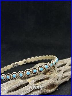 Native American Navajo Sleeping beauty Turquoise Sterling Silver Bangle Bracelet