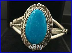 Native American Signed Sleeping Beauty Turquoise Cuff Bracelet