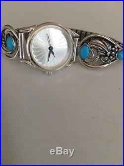 Native American SleepIng Beauty Turquoise Sterling Silver, Women's Watch Tips
