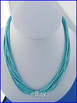 Native American Sleeping Beauty Turquoise 10 Strand Bead Necklace