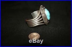 Native American Sleeping Beauty Turquoise Sterling Silver Cuff Bracelet Unique