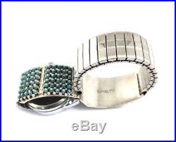 Native American Sterling Silver Hand Made Sleeping Beauty Turquoise Mans Watch