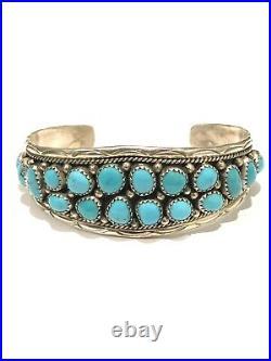 Native American Sterling Silver Handmade Navajo Sleeping Beauty Cuff Bracelet