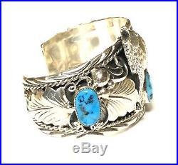 Native American Sterling Silver Handmade Navajo Sleeping Beauty Wolf Bracelet