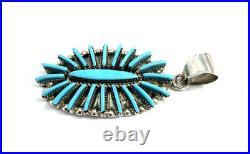 Native American Sterling Silver Handmade Zuni Sleeping Beauty Turquoise Pendant