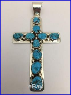 Native American Sterling Silver Navajo Handmade Sleeping Beauty Cross Pendent