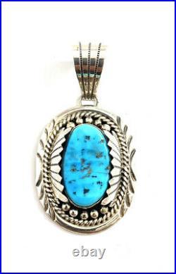 Native American Sterling Silver Navajo Handmade Sleeping Beauty TurquoisePendant