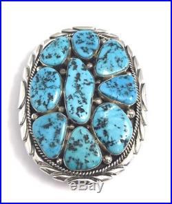 Native American Sterling Silver Navajo Sleeping Beauty Turquoise Belt Buckle