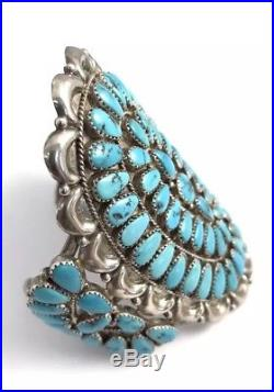 Native American Sterling Silver Navajo Sleeping Beauty Turquoise Bracelet