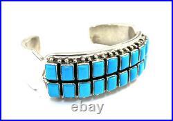 Native American Sterling Silver Navajo Sleeping Beauty Turquoise Cuff Bracelet