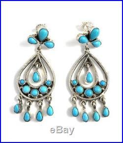 Native American Sterling Silver Navajo Sleeping Beauty Turquoise Earring