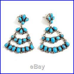 Native American Sterling Silver Navajo Sleeping Beauty Turquoise Earrings