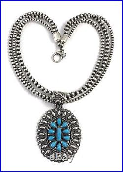 Native American Sterling Silver Navajo Sleeping Beauty Turquoise Necklace