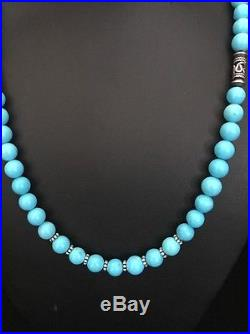 Native American Sterling Silver Sleeping Beauty Turquoise Bead Necklace