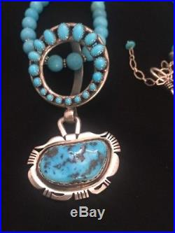 Native American Sterling Silver Sleeping Beauty Turquoise Bead Necklace Pendant