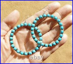 Native American Sterling Silver Sleeping Beauty Turquoise Large Hoop Earrings
