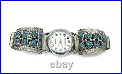 Native American Sterling Silver Sleeping Beauty Turquoise Watch tip