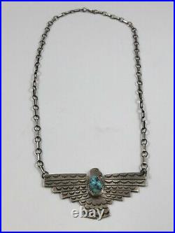 Native American Sterling Silver Thunderbird Necklace Sleeping Beauty Turquoise