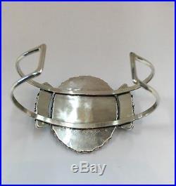 Native American Sterling Silver Zuni Handmade Sleeping Beauty Cuff Bracelet